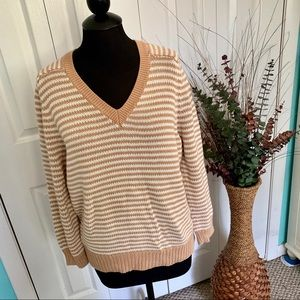 J Crew | Chunky Knit Striped V-Neck Sweater